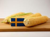 Gli svedese diminuiscono su un pannello di legno con cereale isolato su un BAC bianco Fotografia Stock