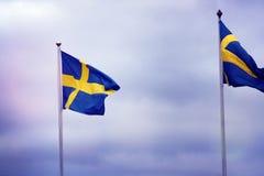 Gli svedese inbandierano l'ondeggiamento nel vento Immagine Stock Libera da Diritti