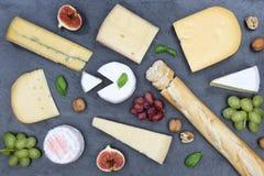 Gli svizzeri del piatto del vassoio del bordo del formaggio impanano la vista superiore dell'ardesia del camembert Fotografia Stock