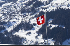 Gli svizzeri diminuiscono nelle montagne Fotografia Stock Libera da Diritti