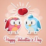 Gli uccelli di amore della cartolina d'auguri che baciano Valentine Day felice vector l'illustrazione Progettazione del modello A Fotografia Stock