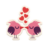 Gli uccelli di amore della cartolina d'auguri che baciano Valentine Day felice vector l'illustrazione Progettazione del modello A Fotografie Stock