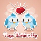 Gli uccelli di amore della cartolina d'auguri che baciano Valentine Day felice vector l'illustrazione Progettazione del modello A illustrazione di stock