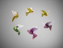 Gli uccelli di euro soldi volano fuori Fotografia Stock