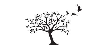 Gli uccelli di volo sul vettore dell'albero, le decalcomanie della parete, uccelli profilano, uccelli sul ramo, Art Design, arte  royalty illustrazione gratis