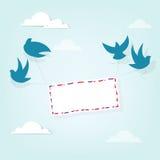 Gli uccelli hanno portato una lettera illustrazione vettoriale