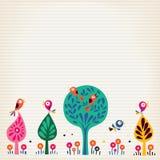 Gli uccelli nell'illustrazione della natura degli alberi hanno allineato il fondo di carta Immagini Stock Libere da Diritti