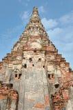 Gli uccelli vivono nel foro del muro di mattoni in un vecchio tempio contemporaneo in Ayuthaya Tailandia Immagini Stock Libere da Diritti