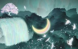 Gli uccelli volano nell'ambito del pacchetto dell'illustrazione del fiume della luna illustrazione vettoriale