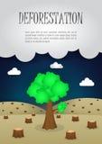 Gli ultimi alberi restanti nella foresta, deforestati dell'edizione della natura royalty illustrazione gratis