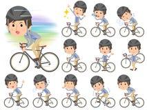 Gli uomini blu della maglia del rivestimento sopra hanno guidato la bicicletta illustrazione vettoriale