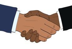 Gli uomini d'affari afroamericani stringono l'illustrazione di vettore delle mani nel retr illustrazione vettoriale