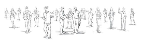 Gli uomini d'affari della siluetta stringono le mani con la gente di affari del gruppo su fondo, persone di affari che stringono  illustrazione vettoriale