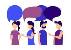 Gli uomini d'affari e le donne di affari discutono le notizie sociali, fumetti Illustrazione piana di stile di vettore Fotografia Stock