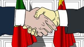 Gli uomini d'affari o i politici stringono le mani contro le bandiere del Portogallo e della Cina Riunione o cooperazione ufficia illustrazione di stock