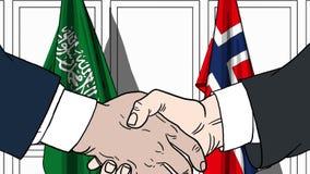 Gli uomini d'affari o i politici stringono le mani contro le bandiere dell'Arabia Saudita e della Norvegia Riunione o cooperazion royalty illustrazione gratis