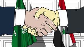 Gli uomini d'affari o i politici stringono le mani contro le bandiere dell'Arabia Saudita e della Siria Riunione o cooperazione u illustrazione di stock