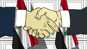 Gli uomini d'affari o i politici stringono le mani contro le bandiere dell'Egitto e della Siria Riunione ufficiale o fumetto rela illustrazione vettoriale