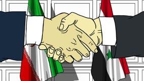 Gli uomini d'affari o i politici stringono le mani contro le bandiere dell'Iran e della Siria Riunione ufficiale o fumetto relati illustrazione vettoriale