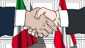 Gli uomini d'affari o i politici stringono le mani contro le bandiere dell'Italia e dell'Austria Riunione o cooperazione ufficial illustrazione di stock