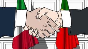 Gli uomini d'affari o i politici stringono le mani contro le bandiere dell'Italia e del Portogallo Riunione o cooperazione uffici illustrazione di stock