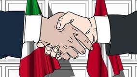 Gli uomini d'affari o i politici stringono le mani contro le bandiere dell'Italia e della Danimarca Riunione o cooperazione uffic illustrazione di stock
