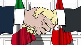 Gli uomini d'affari o i politici stringono le mani contro le bandiere dell'Italia e di Hong Kong Riunione o cooperazione ufficial illustrazione di stock