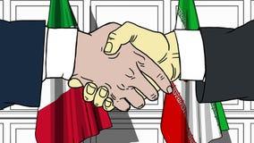 Gli uomini d'affari o i politici stringono le mani contro le bandiere dell'Italia e dell'Iran Riunione ufficiale o fumetto relati royalty illustrazione gratis