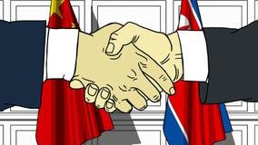 Gli uomini d'affari o i politici stringono le mani contro le bandiere della Cina e della Corea del Nord Riunione o cooperazione u illustrazione vettoriale