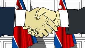 Gli uomini d'affari o i politici stringono le mani contro le bandiere della Corea del Nord Riunione ufficiale o fumetto relativo  royalty illustrazione gratis