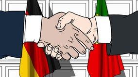 Gli uomini d'affari o i politici stringono le mani contro le bandiere della Germania e del Portogallo Riunione o cooperazione uff royalty illustrazione gratis