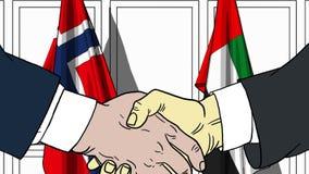Gli uomini d'affari o i politici stringono le mani contro le bandiere della Norvegia e dei UAE Riunione ufficiale o fumetto relat illustrazione di stock