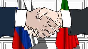 Gli uomini d'affari o i politici stringono le mani contro le bandiere della Russia e del Portogallo Riunione o cooperazione uffic royalty illustrazione gratis