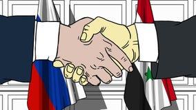 Gli uomini d'affari o i politici stringono le mani contro le bandiere della Russia e della Siria Riunione o cooperazione ufficial illustrazione di stock