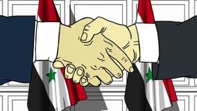 Gli uomini d'affari o i politici stringono le mani contro le bandiere della Siria Animazione relativa ufficiale del fumetto di co royalty illustrazione gratis