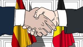 Gli uomini d'affari o i politici stringono le mani contro le bandiere della Spagna e del Belgio Riunione o cooperazione ufficiale illustrazione vettoriale