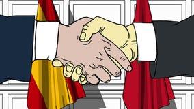 Gli uomini d'affari o i politici stringono le mani contro le bandiere della Spagna e del Marocco Riunione o cooperazione ufficial royalty illustrazione gratis