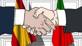 Gli uomini d'affari o i politici stringono le mani contro le bandiere della Spagna e del Portogallo Riunione o cooperazione uffic illustrazione di stock