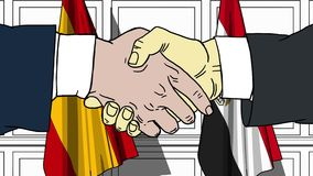 Gli uomini d'affari o i politici stringono le mani contro le bandiere della Spagna e dell'Egitto Riunione ufficiale o fumetto rel illustrazione di stock