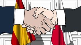 Gli uomini d'affari o i politici stringono le mani contro le bandiere della Spagna e della Polonia Riunione o cooperazione uffici royalty illustrazione gratis