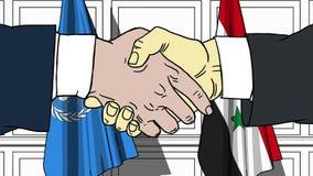 Gli uomini d'affari o i politici stringono le mani contro le bandiere delle nazioni unite e della Siria Riunione o cooperazione u illustrazione vettoriale
