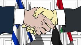Gli uomini d'affari o i politici stringono le mani contro le bandiere di Israele e della Siria Riunione o cooperazione ufficiale  illustrazione di stock