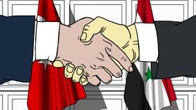Gli uomini d'affari o i politici stringono le mani contro le bandiere di Turchia e della Siria Riunione o cooperazione ufficiale  royalty illustrazione gratis