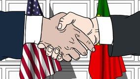 Gli uomini d'affari o i politici stringono le mani contro le bandiere di U.S.A. e del Portogallo Riunione o cooperazione ufficial illustrazione di stock