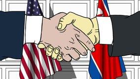 Gli uomini d'affari o i politici stringono le mani contro le bandiere di U.S.A. e della Corea del Nord Riunione o cooperazione uf illustrazione vettoriale