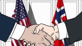 Gli uomini d'affari o i politici stringono le mani contro le bandiere di U.S.A. e della Norvegia Riunione ufficiale o fumetto rel royalty illustrazione gratis