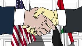 Gli uomini d'affari o i politici stringono le mani contro le bandiere di U.S.A. e della Siria Riunione ufficiale o fumetto relati illustrazione di stock