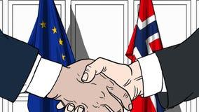 Gli uomini d'affari o i politici stringono le mani contro le bandiere di Unione Europea UE e Norvegia Riunione o cooperazione uff royalty illustrazione gratis