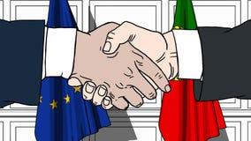Gli uomini d'affari o i politici stringono le mani contro le bandiere di Unione Europea UE e Portogallo Riunione o cooperazione u royalty illustrazione gratis