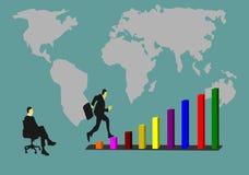 Gli uomini d'affari stanno saltando sul grafico di successo Faccia sedersi ad un amico la sorveglianza illustrazione vettoriale